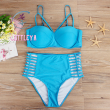 CATTLEYA 2017 Push up High Waist Swimsuit XL-3XL big size Women Bathing Suit Padded Bikini set Retro Beachwear  CQ 17013