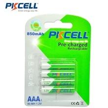 4Pcs/PKCELL AAA Bateria Ni MH 850mAh 1.2V AAA Pilhas 3A Baterias Bateria Recarregável Bateria