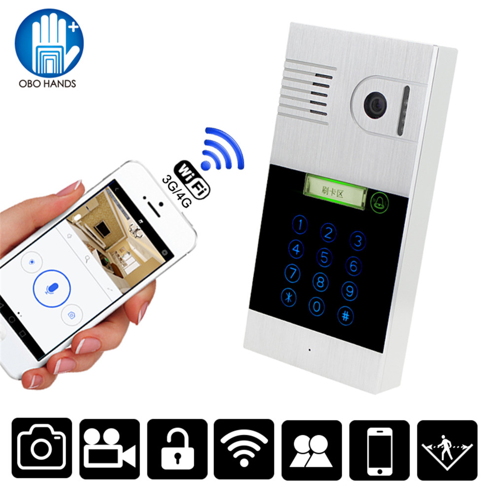 WIFI Wireless Video Intercom Doorbell System Outdoor Camera With Touch Metal Keypad RFID Card Password Unlock IR Night Version jcsmarts rfid access wireless wifi ip doorbell camera video intercom for android ios smartphone remote view unlock with sd card