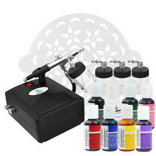 цена на OPHIR Airbrush Cake Paint Tool 0.3mmAirbrush Kit with Air Compressor 7 America Edible Pigment & 15x Stencils for Cake Decorating