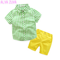 Hot Sale 2017 Summer Children Clothing Sets Baby Boys Plaid Shirts Candy Colors Shorts Suit Kids