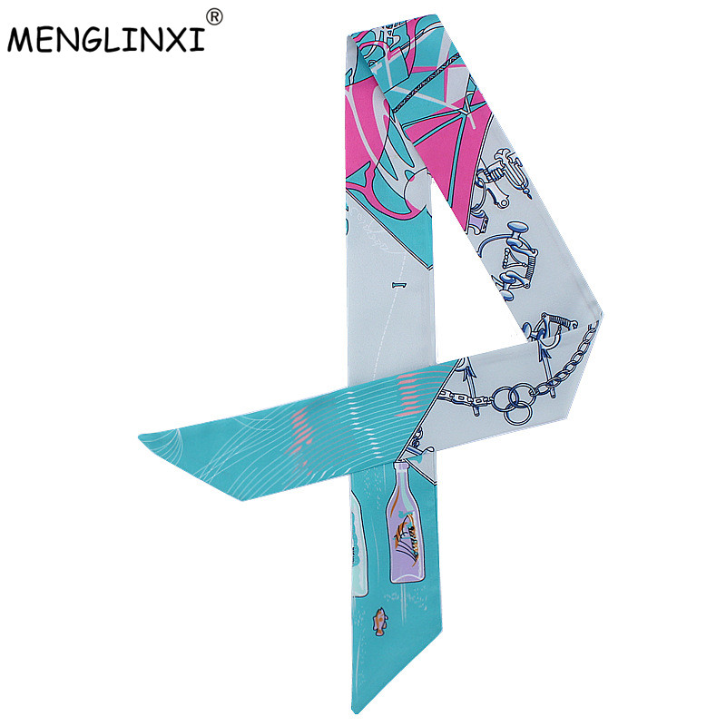 2020 New Design Drifting Bottle Print Small Silk Scarf Women Fashion Head Scarf Luxury Brand Small Long Scarves For Bags Ribbons
