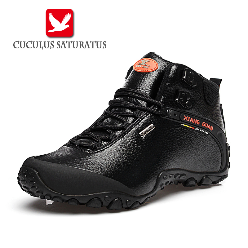 XIANG GUAN Waterproof Men Hiking Shoes Outdoor Sneaker Climbing High Genuine Leather Mountain Sport Trekking Shoes Boots 81998 2016 autumn winter hiking shoes men mountain climbing boots big size 11 12 13 outdoor shoes men military shoe waterproof sneaker