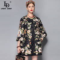 LD LINDA DELLA Autumn Designer Coat Single Breasted O Neck Casual Women Gorgeous Beading Crystal Printed Loose Vogue Coat