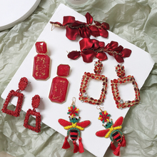 Ztech Brand Za Resin Water Drop Earrings Women Luxury Dangle Geometric Maxi Statement Earrings Red Beads Pendant Brinco Jewelry цена