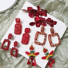 Ztech Brand Za Resin Water Drop Earrings Women Luxury Dangle Geometric Maxi Statement Earrings Red Beads Pendant Brinco Jewelry ztech trendy green za metal maxi dangle drop earrings for women gift geometric crystal resin statement pendant earrings jewelry