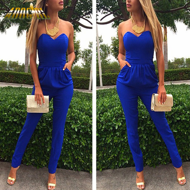 2016 Fashion Jumpsuit Overalls Rompers Womens Jumpsuit White Black Blue Sexy Strapless Plus Size XXL Bodysuit Combinaison Femme