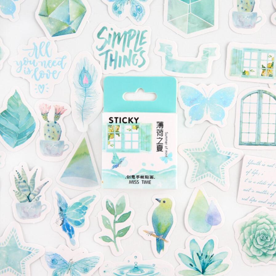 Mint Summer Bullet Journal Stickers Set Decorative Stationery Stickers Scrapbooking DIY Diary Album Stick Lable