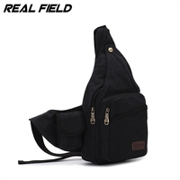 Real Field RF Men Canvas Backpack Kaukko Shoulder Bag Fashion Vintage Casual Crossbody Chest Zip Bag