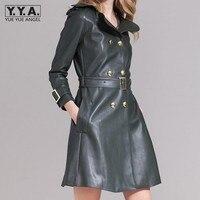 2018 зимние кожаные длинные куртки женские двубортный черный бренд Одежда высшего качества поясом длинные кожаные Пальто для будущих мам для