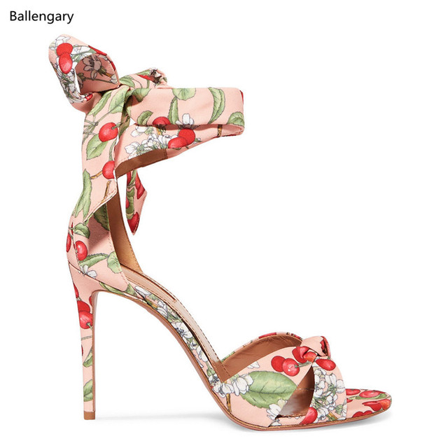 48c4fc0dcf57c 2018 New Summer Ankle Tie Stiletto Cherry Blossom Print High Heels Pumps  Gladiator Women Sandals Lace Up Women Wedding Shoes