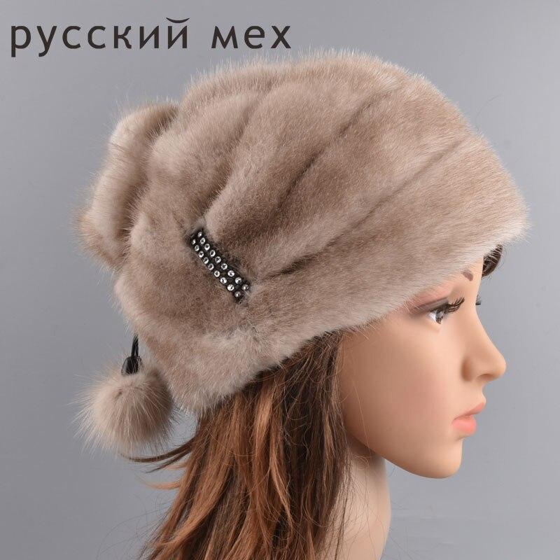 New Genuine Whole Mink Fur Beanies Real Fur Hats Women Winter Caps Good Quality Christmas Fur Hats Mink Fur Balls