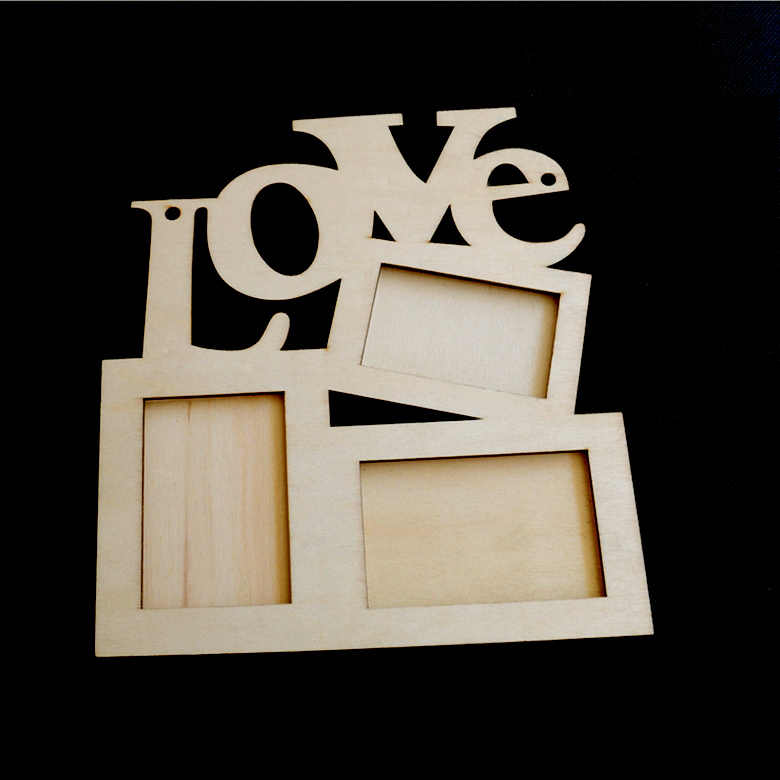 Hollow Love Wooden Photo Frame White Base DIY Picture Frame Art Decor Three Windows