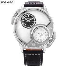 BOAMIGO moda hombres deportes relojes de cuarzo correa de cuero casual marca relogio masculino analógico doble de tiempo de reloj de pulsera blanca