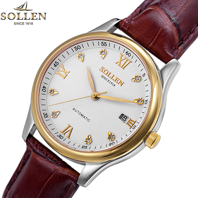 SOLLEN new men leather watch wrist original luxury top brand big automatic fashion Casual Mechanical watches relogio masculino top luxury brand new arrival men business casual fashion watches big dial genuine leather skeleton automatic mechanical watch