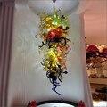 Свадебные центральные многоцветные потолочные светильники ручной выдувного стекла Цепи Люстра светодиодный свет