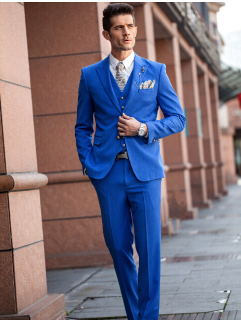 New Men Suits Sky Blue Single Breasted Wedding Groom