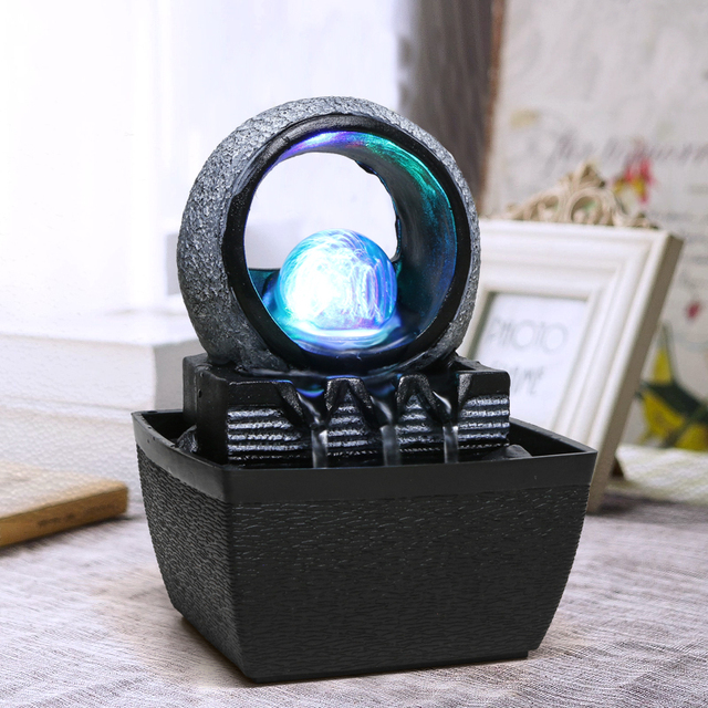 110-240V Brief Resin Water Flowing Cycle Fountain Office LED Light Desktop Feng Shui Lucky Living Room Home Decor Creative Gift