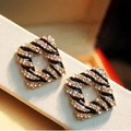 Small fashion accessories  personality black zebra print square stud earring female