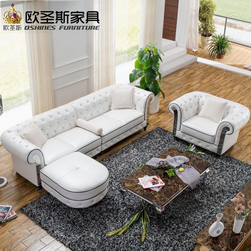 Usine en gros meilleure qualité pas cher hors blanc en acier inoxydable cadre en métal 4 sièges en cuir brillant canapé ensemble avec tabouret ottoman W36R