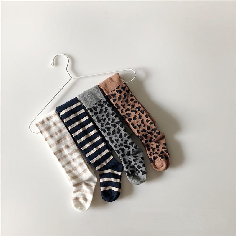 EnkeliBB Baby Mädchen Winter Warme Strumpfhosen Kinder Gestreiften/Leopard Muster Strumpfhosen/Böden Chidlren Mode Verdicken Kleidung Top Qualität