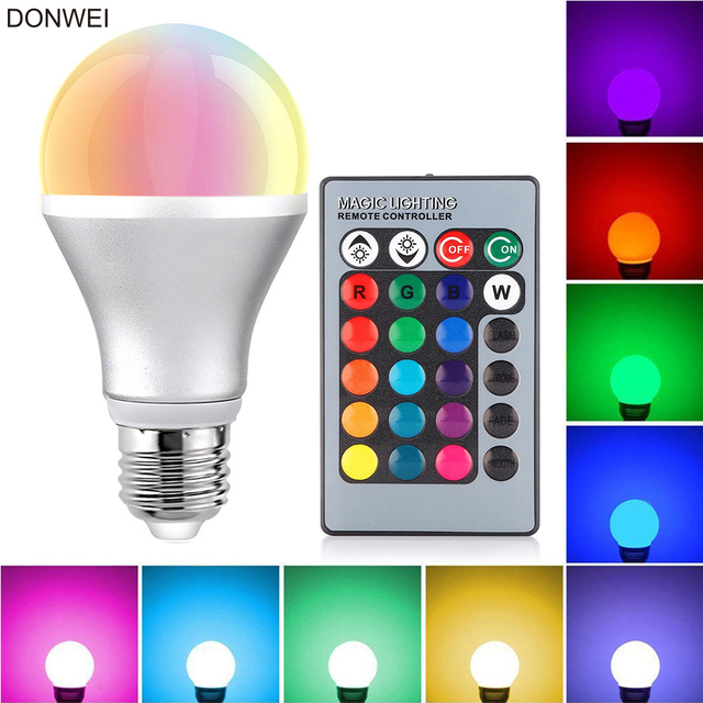 3w E27 Rgb Led Light Bulb Spotlight Bulbs With Remote Control For Party Disco Dj Bar Home Lighting Ac 85 265v
