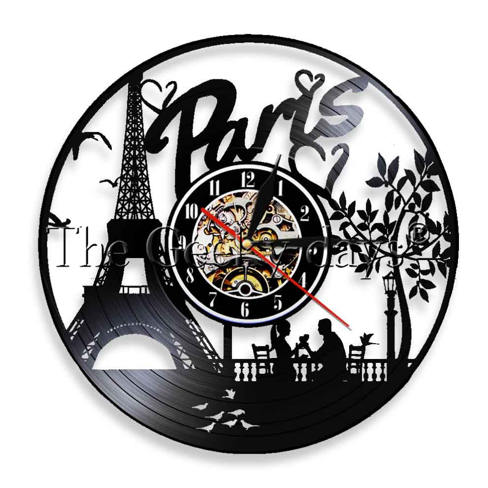 1Piece Paris Eiffel Tower LED Lighting France Skyline Vinyl Record Wall Clock Tourist Gift Idea Living Room Wall Decor
