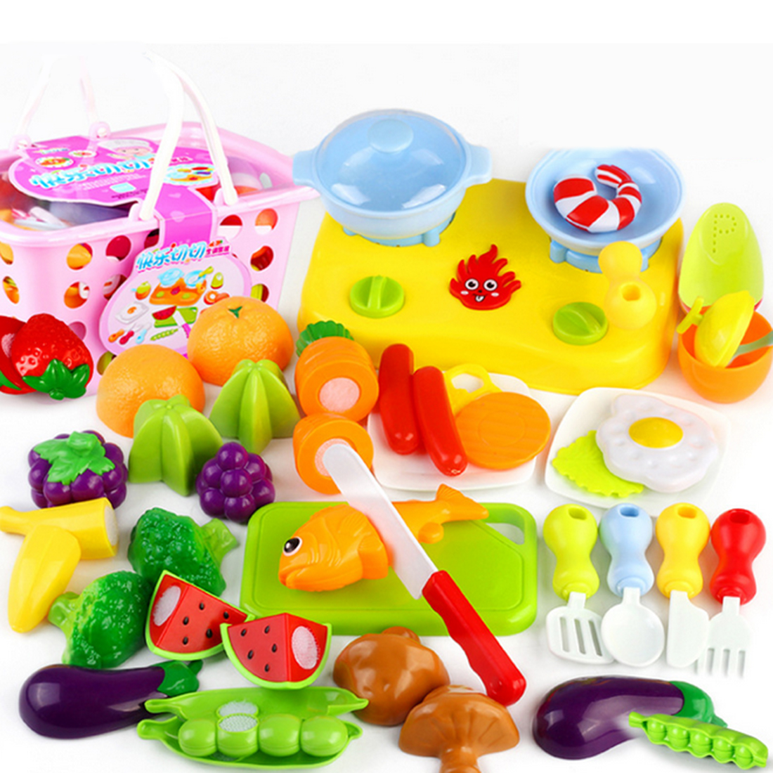 Kitchen Fruit Pattern Pretend & Play Cutting Toy Children Early Development with Portable Basket - Color Random