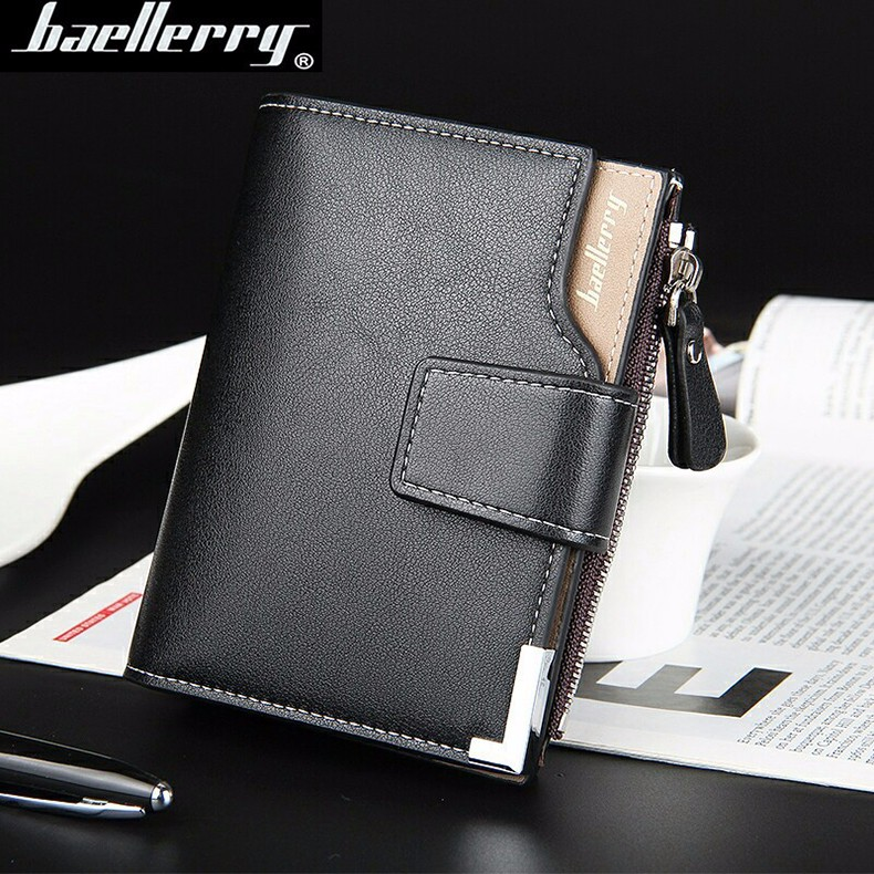 Leather Multifunction Men Wallets Zipper Pocket Trifold Purse Card Holder Hasp Wallet Zipper Purse brown one size 4