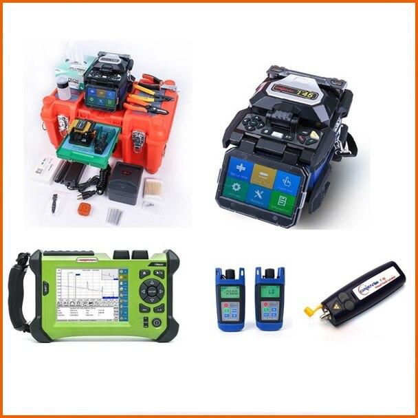 Orientek FTTH Fiber Optique Outil Kit, y compris T45 Épissurage, SV20A OTDR Fiber Optique Power Meter Optique Lumière Source VFL