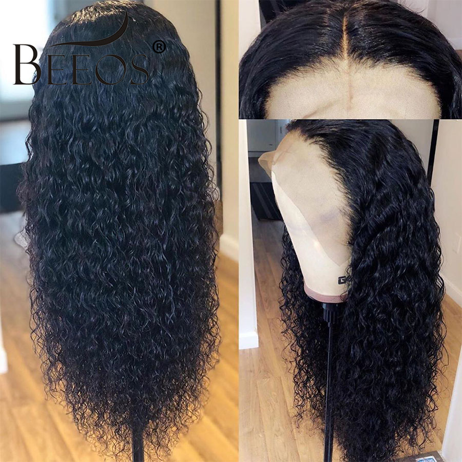 Beeos Glueless 13*6 Lace Front Human Hair Wigs For Women Peruvian Remy Hair Bleached Knots Curly Lace Front Wig Pre Plucked