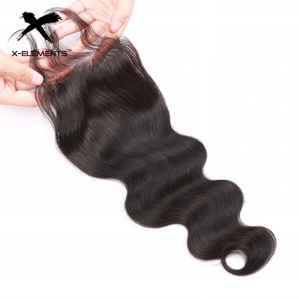 X-Elements Hair 4x4 Lace Closure Body Wave Hair Weaves Non-Remy Brazilian Human Hair Extensions Natural Color Swiss Lace Closure (1)