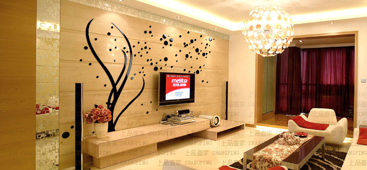 2017 Free shipping 3d stereo acrylic crystal wall stickers Tree living room bedroom TV background decoration creative home decor