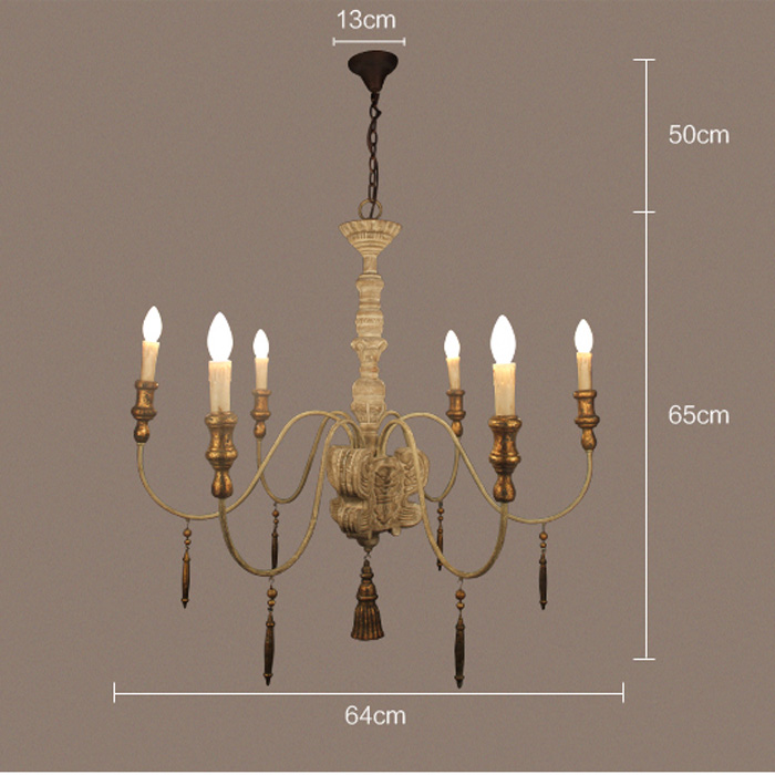 6 Heads Retro Amercian Industrial Style Wooden Lamp Do Old Color Hotel Chandelier Light