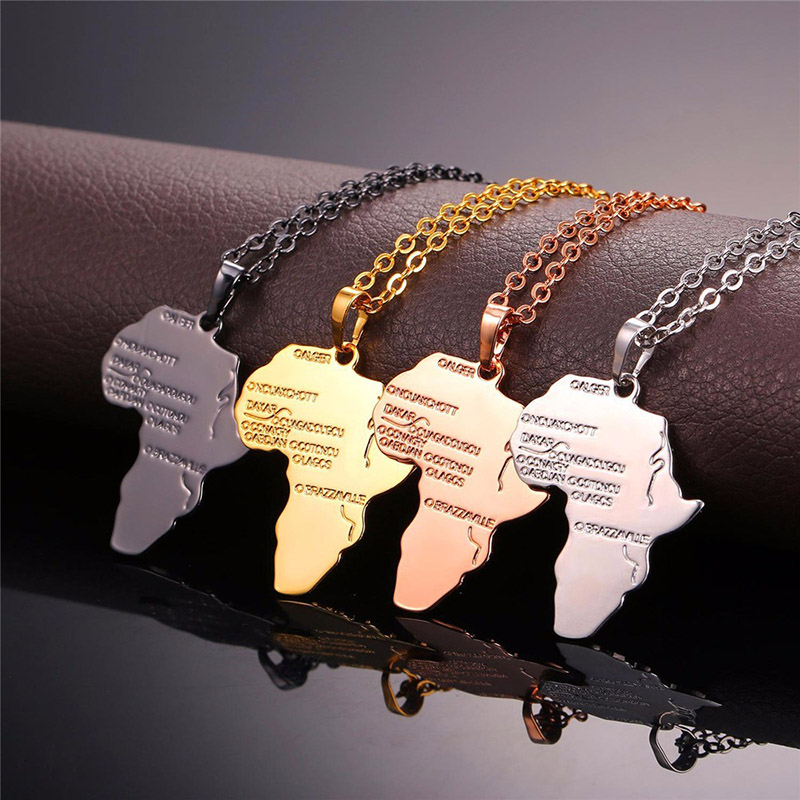 4 цвета Модная Африканская Карта Форма кулон ожерелье Женская мода ювелирные изделия персонализированный сплав металлическая серебряная с золотом цепь ожерелье s