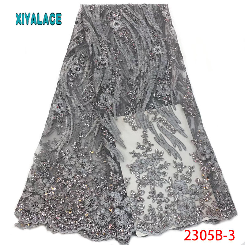 Sequins Lace Fabric High Quality 3d French Lace Fabric Embroidery African Party Lace Fabric 5yards For