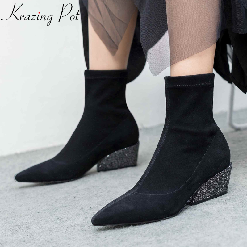 Krazing Pot 2018 new full grain leather kid suede pointed toe square bling shiny thick heels comfortable wedding ankle boots L69 natural fur beanie hat for women winter luxury fox fur top hat beanies thicken knitting lined female newest hats cap