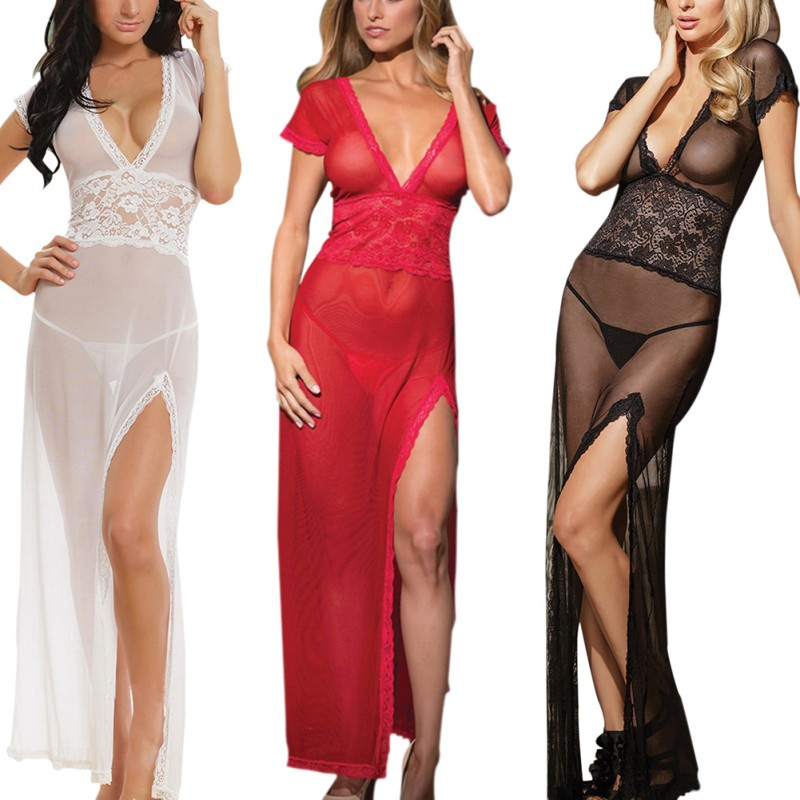 ZH Evening Dress Solid Sexy Lingerie Women Underwear Long Dressing Night Gown Sheer Transparent Tracksuit