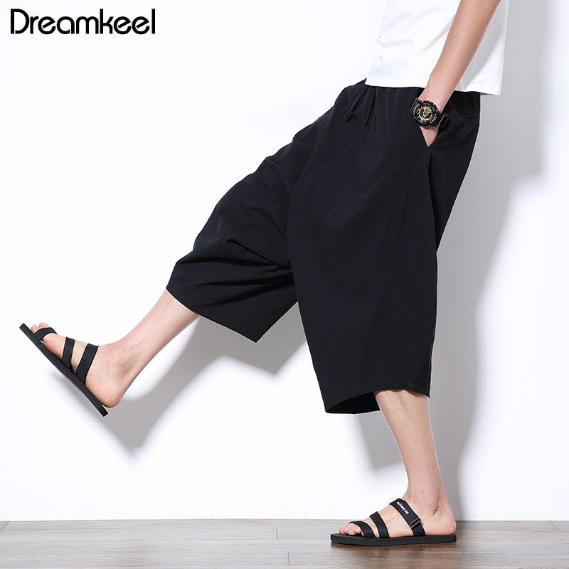 Harem Pants Trousers Loose Chinese-Style Baggy Large Men's Flaxen Bloomers Cropped Wide-Crotch