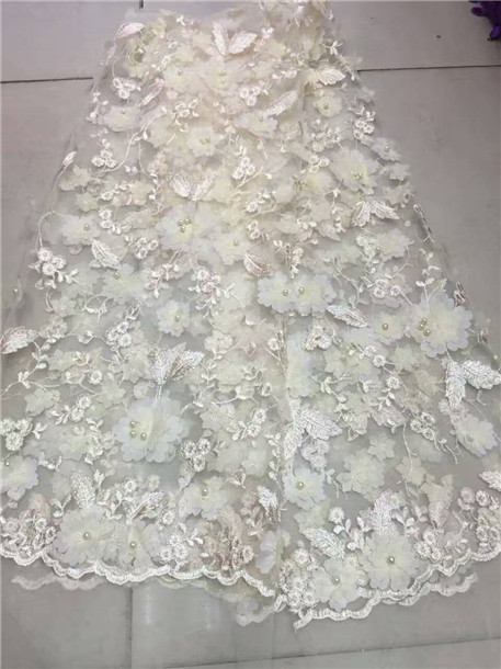 Aliexpress 2017 Latest Nigerian White Laces Fabrics High Quality African 3 D Flower Net Fabric Wedding French Tulle Lace From