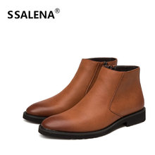 Men Pointed Toe Short Leather Boots Male Fashion England Style Ankle Boots Men Vintage Simple High Top Flat Shoes AA60534