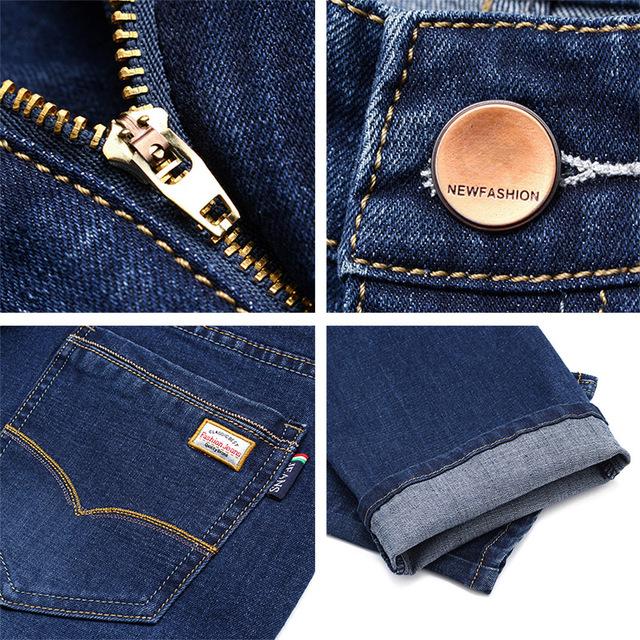 Men Classic Slim Fit Jeans For Spring Autumn Casual Male Brand Skinny Zipper Straight Black Blue Denim Pants Long Plaid Trousers