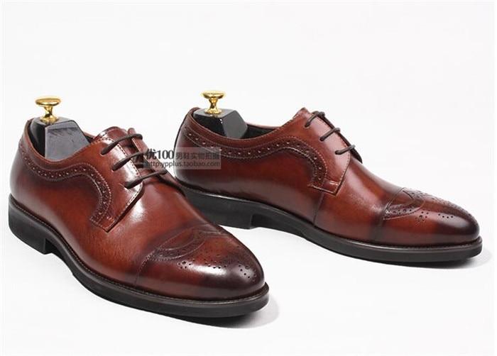 Mano Retro Británico Hombres Hechos Tallado América Casual Estrecha Europa De A Negocios Punta Y Italiano Zapatos Estilo Los Chocolate Brogue 8p1wqpnAUx