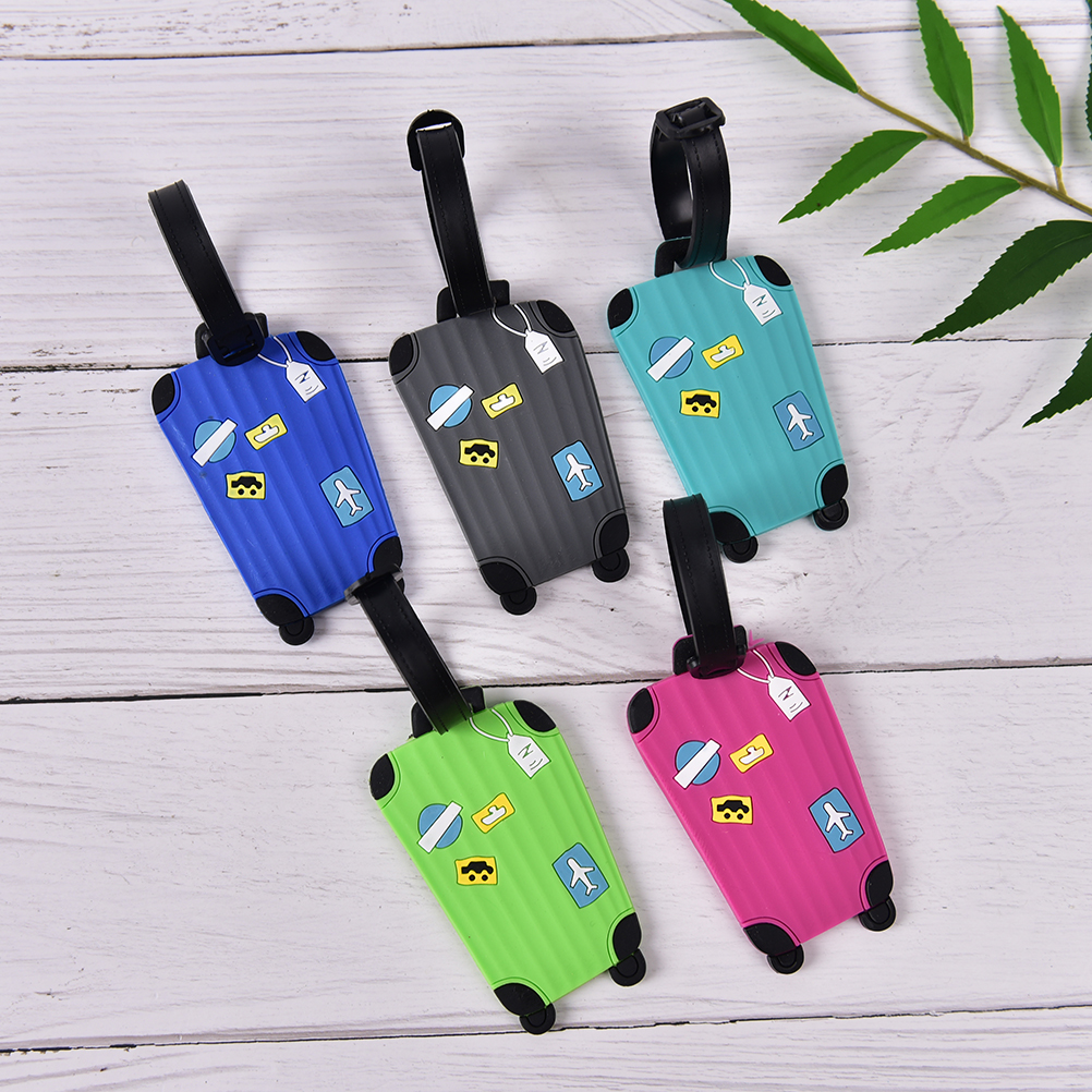 1PCS Luggage Tags For Travel Candy Color English Letter Luggage Label Strap Suitcase Name ID Address Tags Luggage Tags