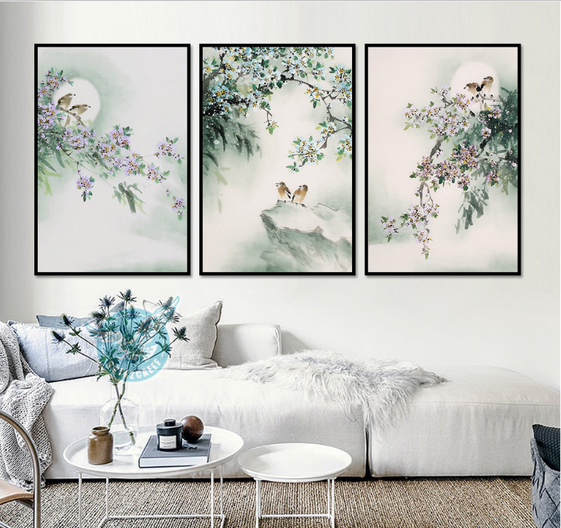 New Chinese Ink Paintings Freehand Bird Flower Decorative Paintings Canvas Paintings Decoration for Room Unframed
