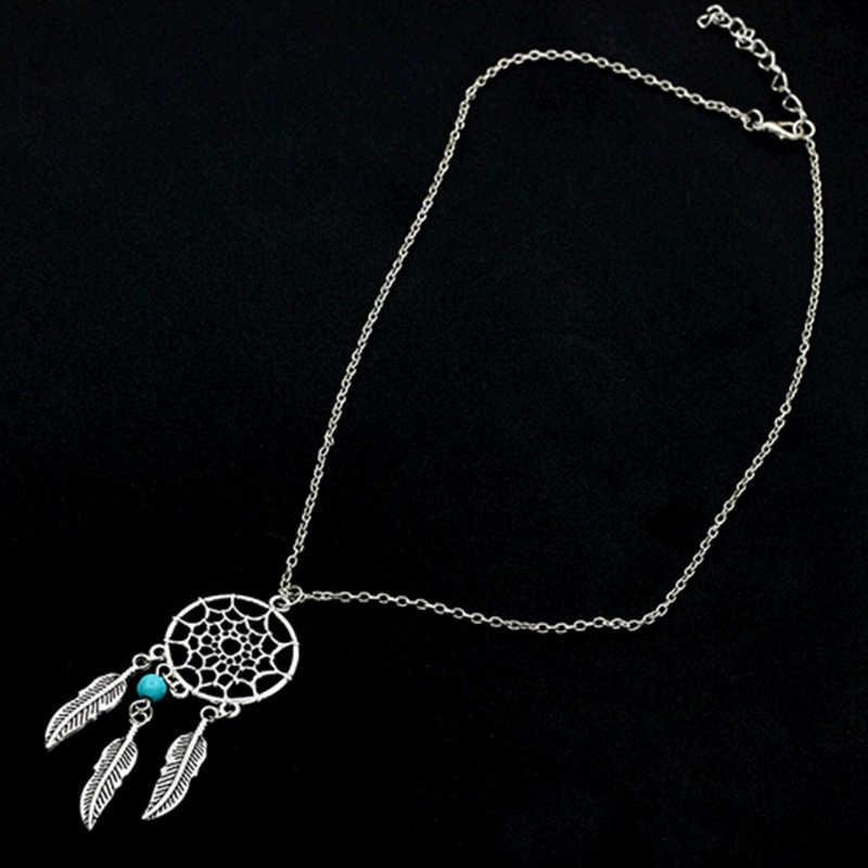 ブルー石ビーズトリプルシルバー羽タッセルラウンドネットペンダント自由奔放に生きるスタイルのネックレス 6 種類