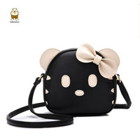 Fashion Cute Girl Shoulder Bag Hello Kitten Handbag Leather Material Butterfly Messenger Bag Bolsos Mini Bag