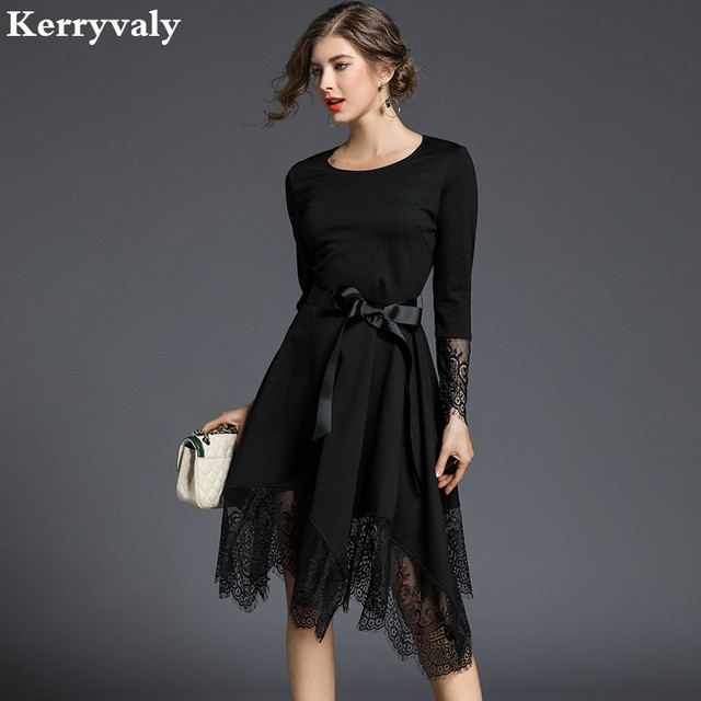 Spring Irregular Black Lace Dress Woman Dress 2019 Robe Vintage Long Sleeves  Skater Dress Dames Kleding Vestido Branco K6153 86173bf9c1d8