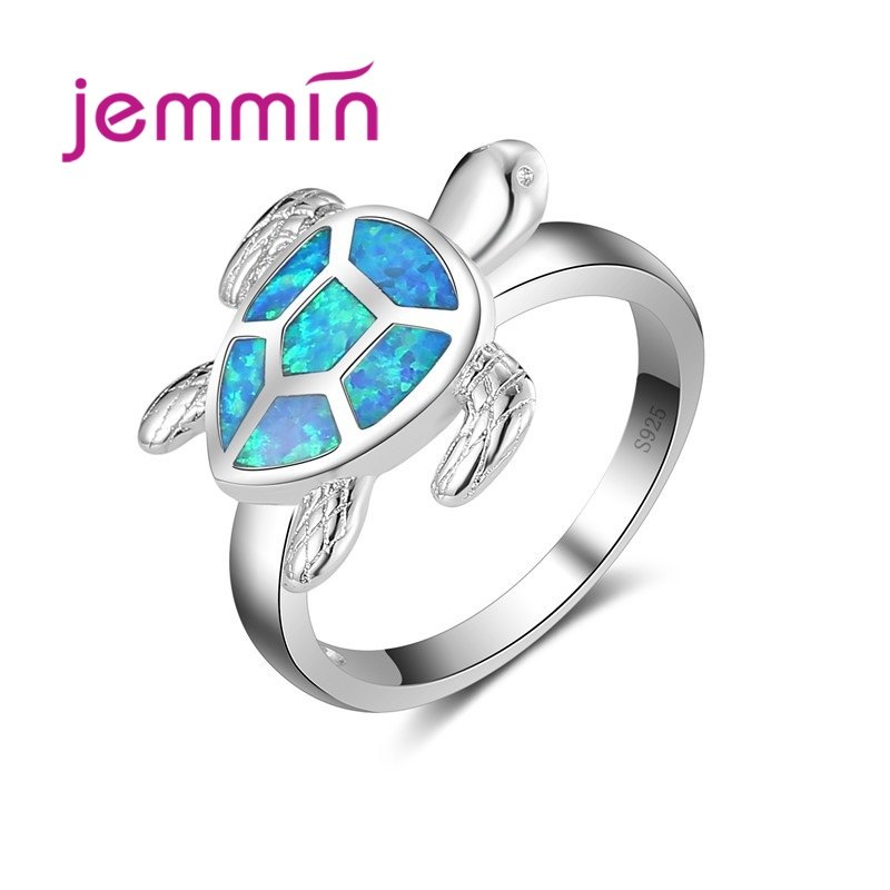 Top Quality Animal Tortoise Pattern Blue Fire Opal Party Finger Ring 925 Sterling Silver Rings For Women Kids Jewelry