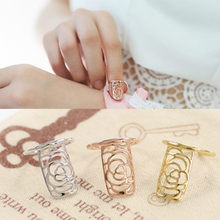 Fashion Jewelry Plum Five-pointed Star Fingernails Cute Ring Nail Art Stickers Hollow Rose Snake Armor Female Ring(China)